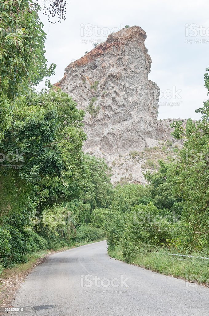 Queen Victoria Profile in rock formations stock photo