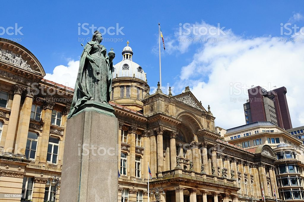 Queen Victoria statue and council house, Birmingham. stock photo