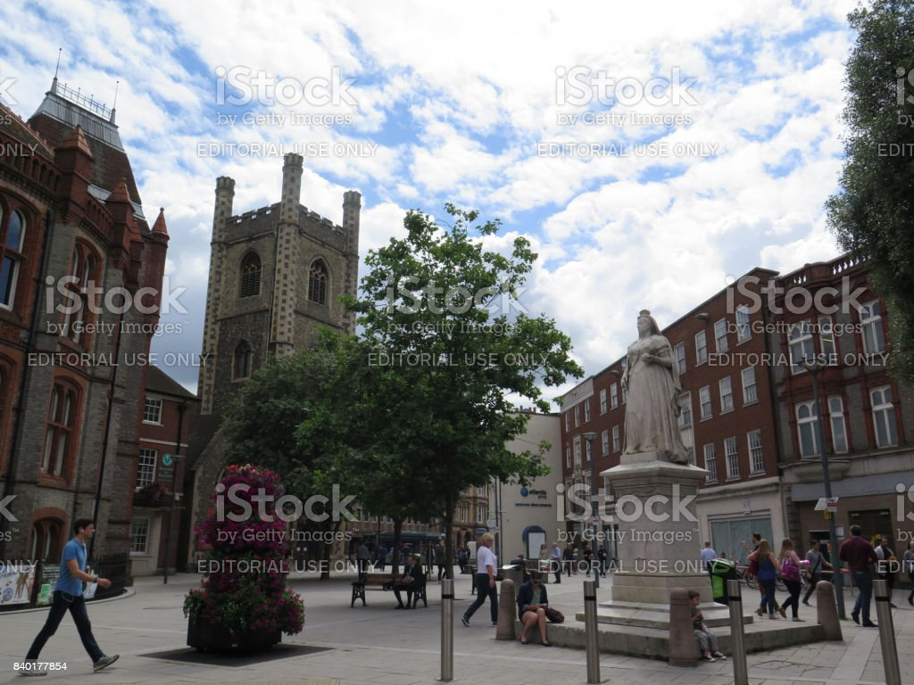 Queen Victoria Statue in Reading Town Hall Square stock photo