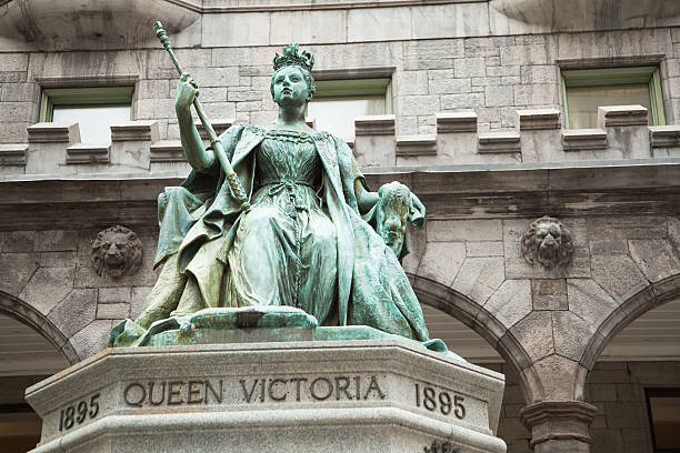 Queen Victoria statue McGill University Montreal stock photo