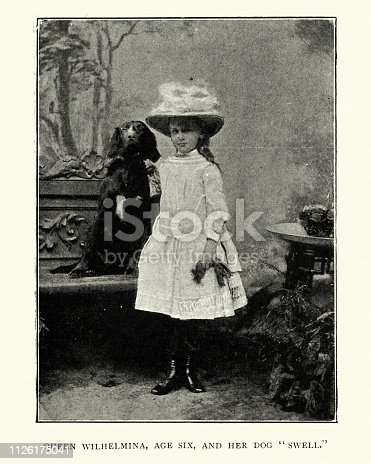 Vintage photograph of Queen Wilhelmina of the Netherlands, and her dog Swell, 19th Century, Victorian