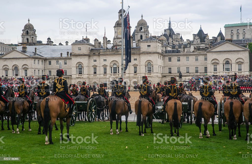 Queen's-Band und royal guard in den Queen's Birthday Parade Lizenzfreies stock-foto