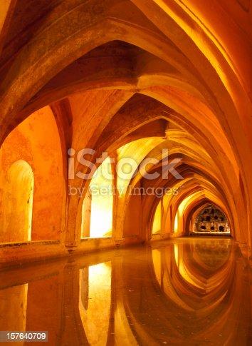 Queens baths Real Alcazar Interior, Seville Spain Archway