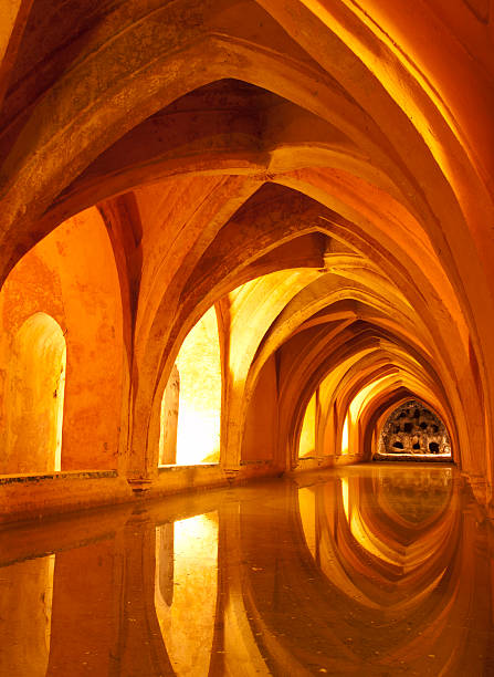 Queens baths Alcazar Interior, Seville Spain Queens baths Real Alcazar Interior, Seville Spain Archway alcazar palace stock pictures, royalty-free photos & images