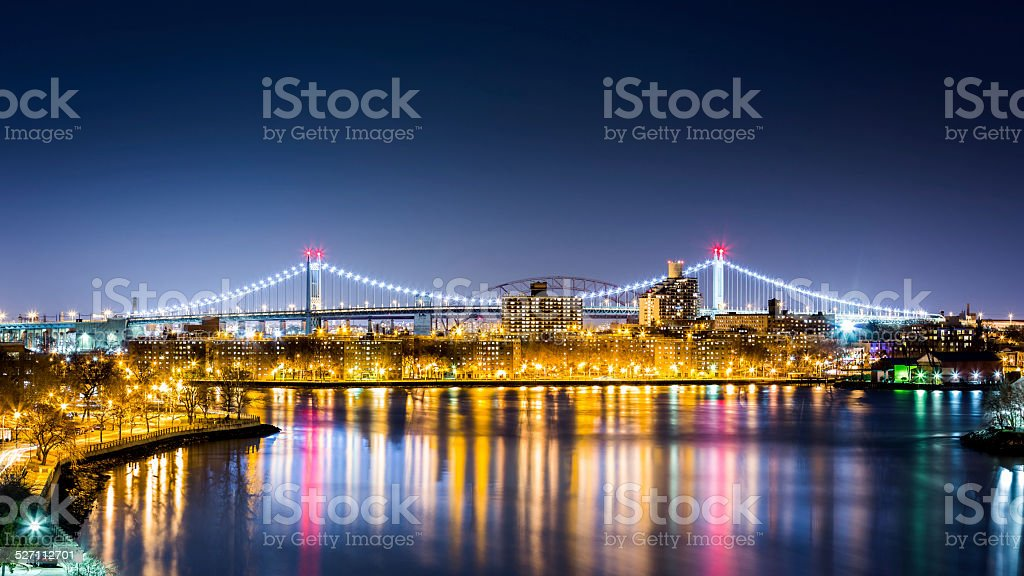 Queens cityscape by night stock photo