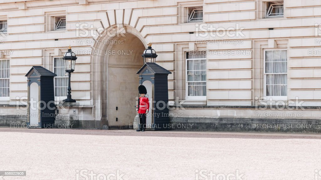 Queen's Guard at Buckingham Palace. stock photo