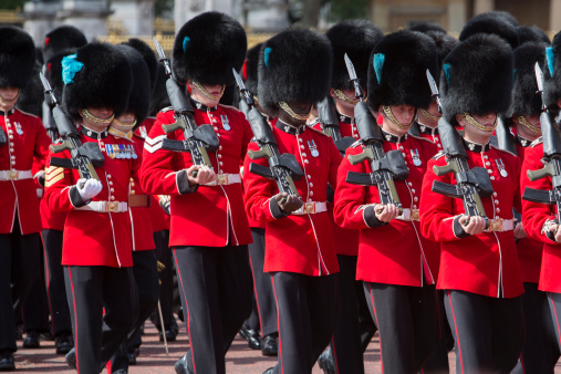 June 2013, Changing the guard ceremony at Buckingham Palace. The change of guard is a very typical scene of London.