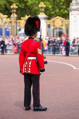 London, England - August 2021: Regimental band of the Welsh Guards marching from Buckingham Palace after the Changing of the Guard ceremony