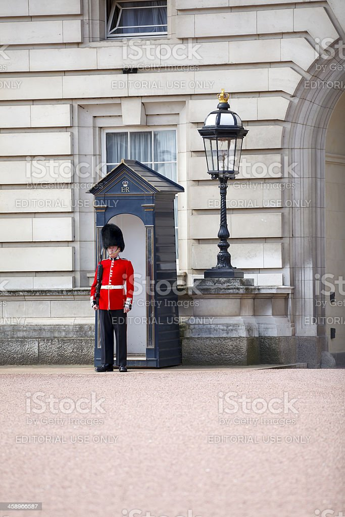Queen's Guard - sentry on duty royalty-free stock photo