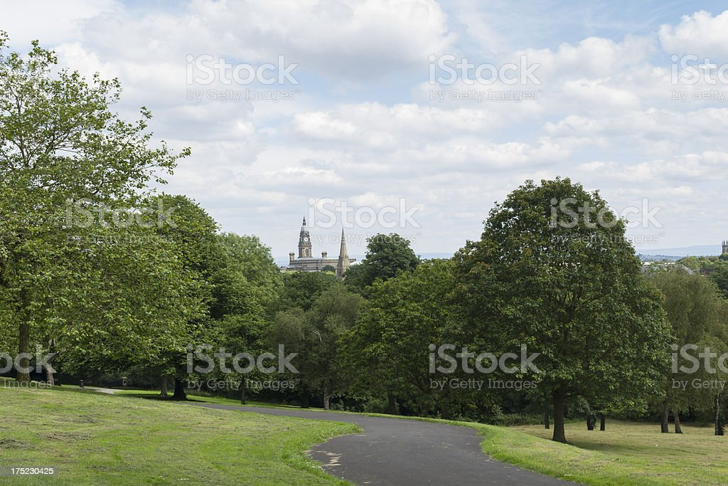 queens park Bolton with town hall royalty-free stock photo
