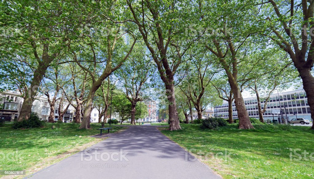 Queens Park in Southampton by the docks stock photo
