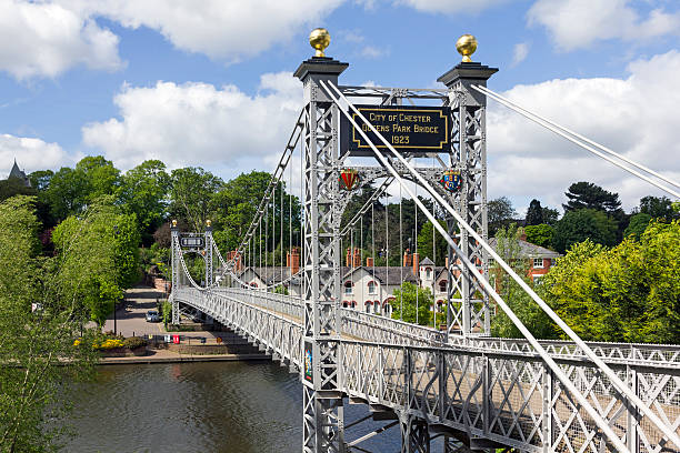 Queens Park Suspension Bridge, Chester stock photo