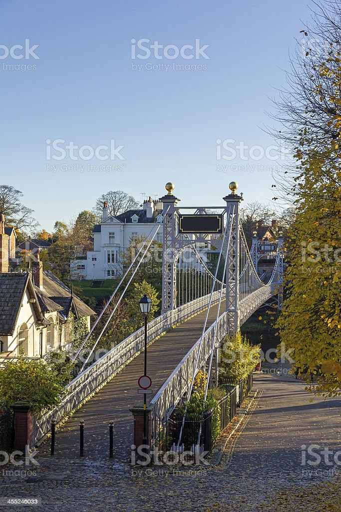 Queens Park Suspension Bridge, Chester royalty-free stock photo