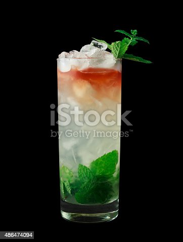 istock Queens Park Swizzle cocktail on black background 486474094