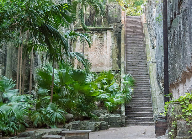 Queen's Staircase in Nassau, Bahamas stock photo