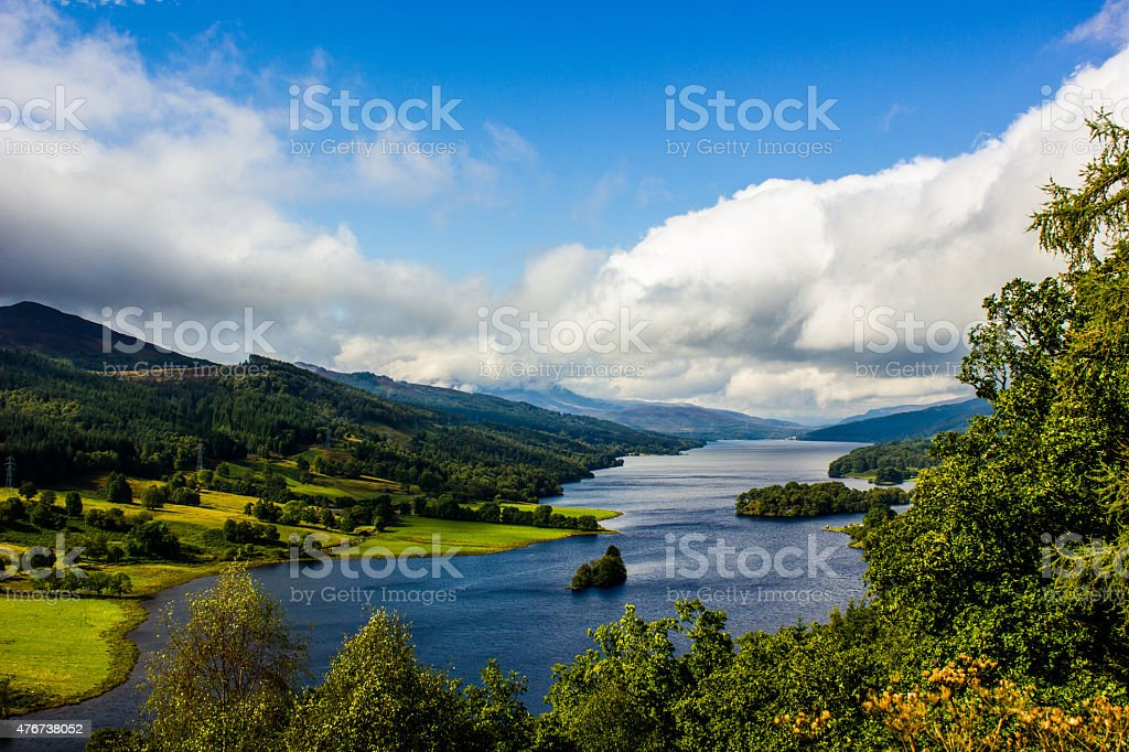Queen's View at Loch Tummel, Scotland on a cloudy day stock photo
