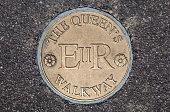A plaque marking the Queens Walkway in Windsor, Berkshire.