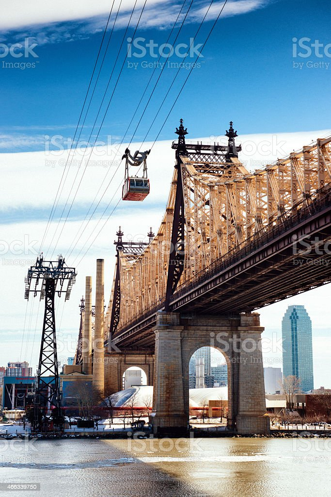 Queensboro Bridge and Roosevelt Island Tramway New York stock photo