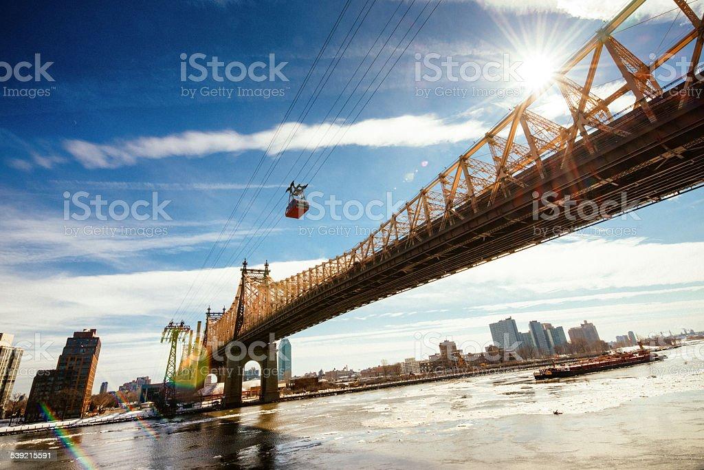 Queensboro Bridge and Roosevelt Island Tramway New York stock photo