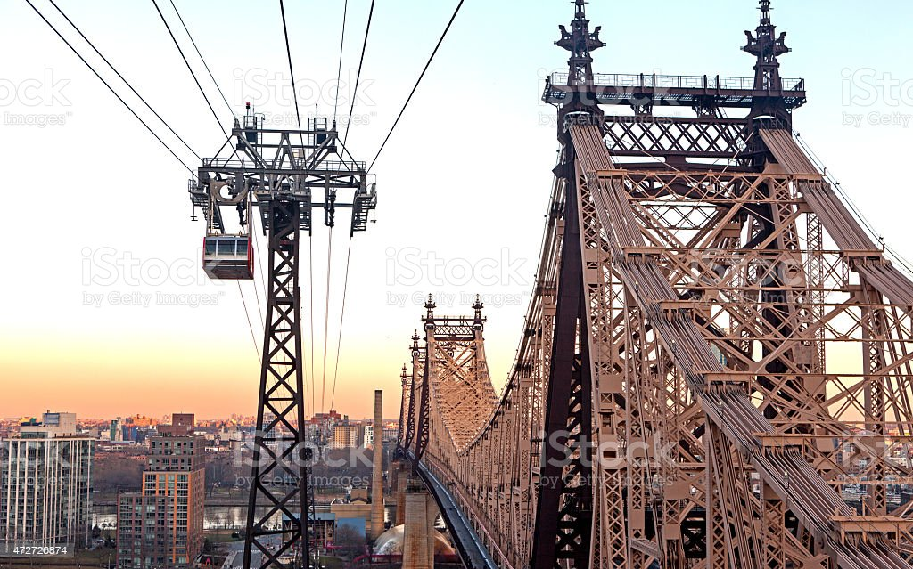 Queensboro Bridge and Rope Railway stock photo