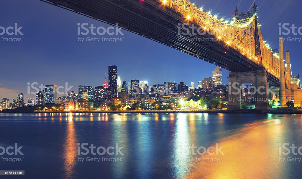 Queensboro Bridge by night royalty-free stock photo