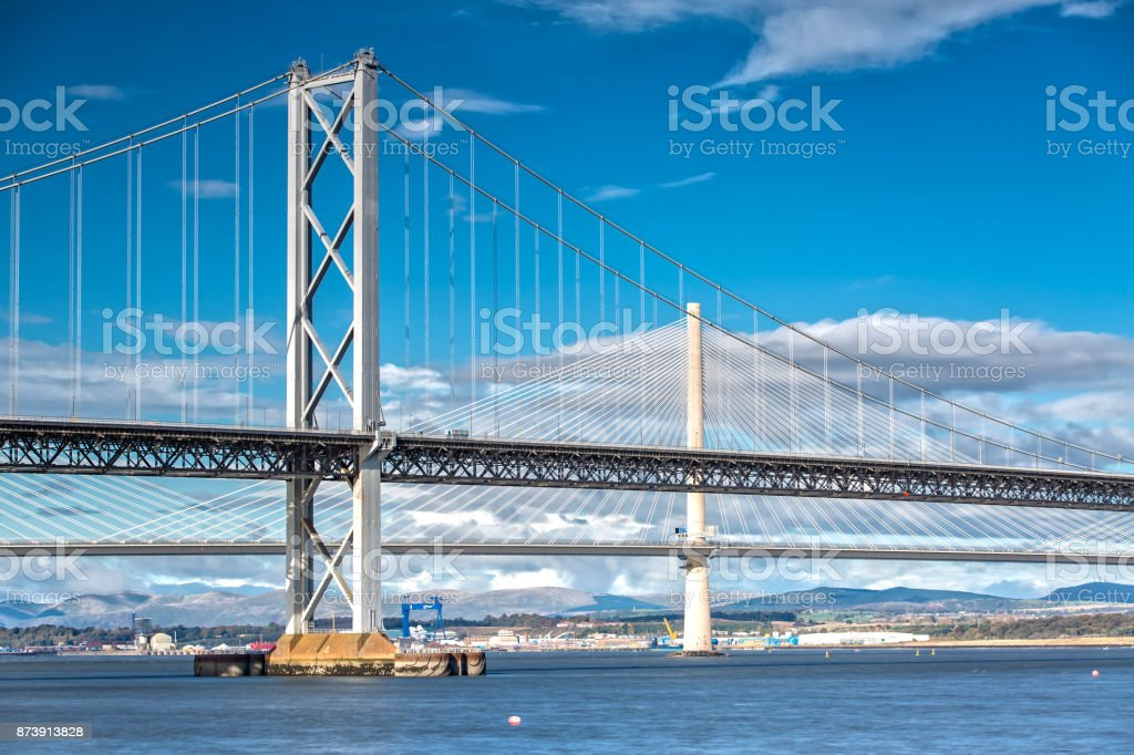 Queensferry Crossing and Forth Road Bridge stock photo