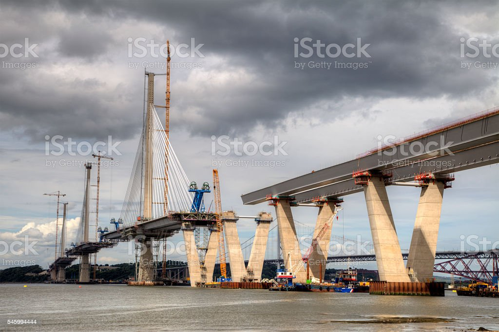 Queensferry Crossing from the south shore stock photo
