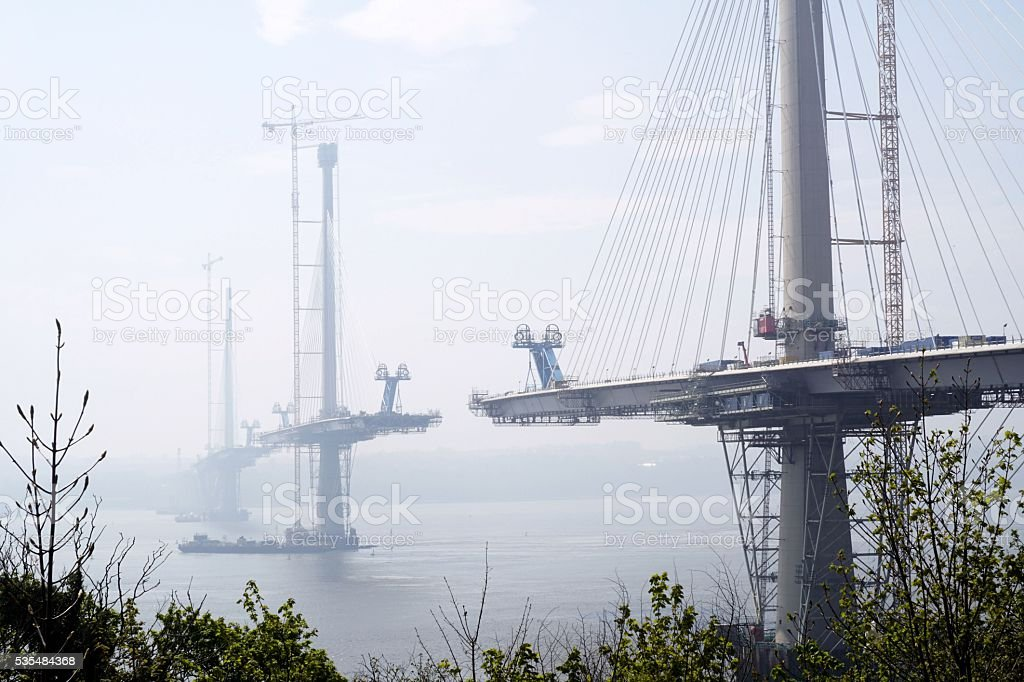 Queensferry Crossing - near completion stock photo