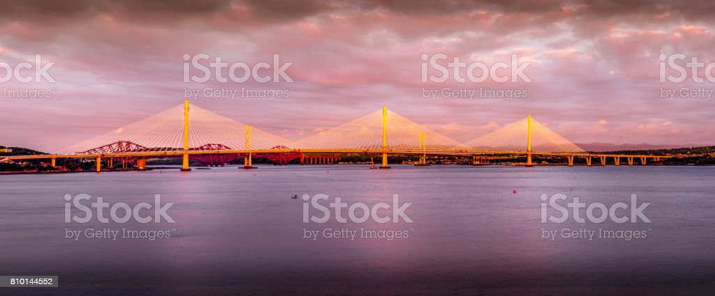 Queensferry Crossing - new bridge across the Firth of Forth stock photo