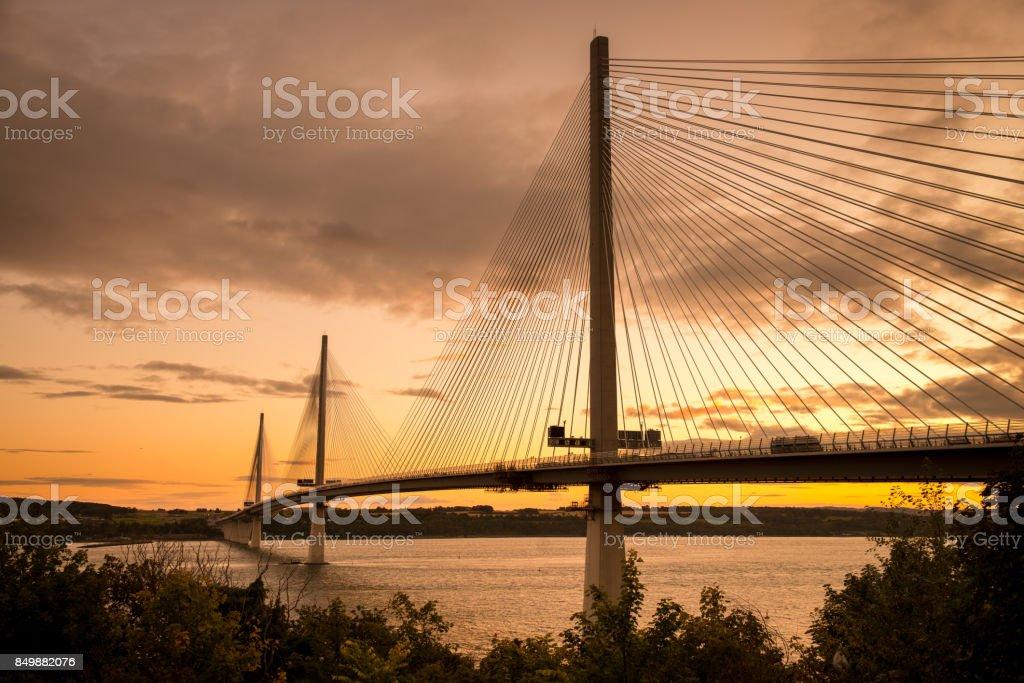Queensferry Crossing Suspension Bridge Across Forth of Fife stock photo