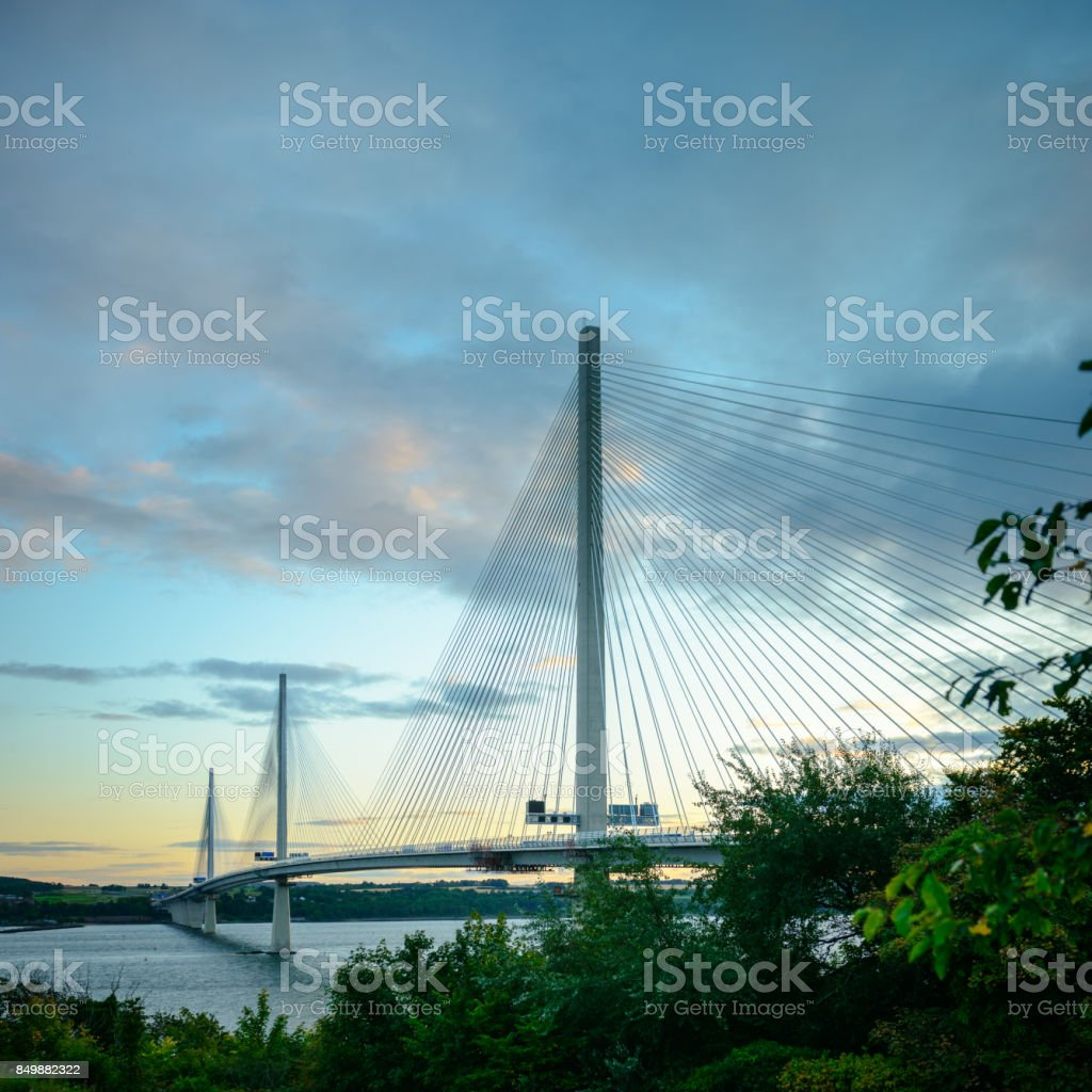 Queensferry Crossing Suspension Bridge Across Forth of Fife royalty-free stock photo