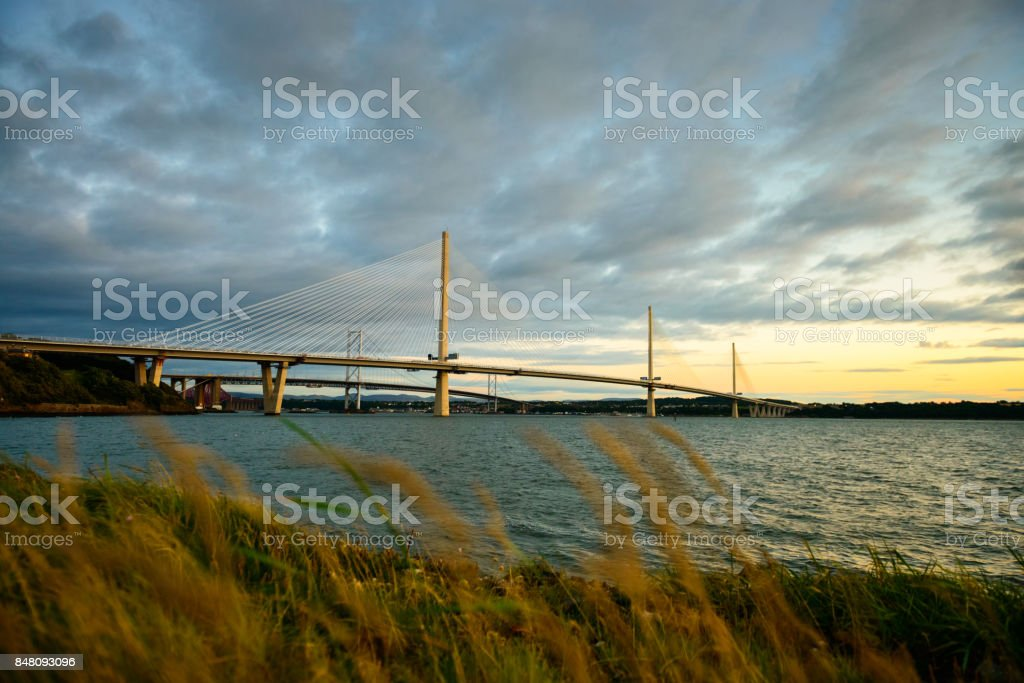 Queensferry Crossing Suspension Bridge stock photo
