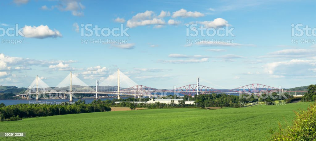 Queensferry Crossing, the Forth Road Bridge and the Forth Bridge in Scotland stock photo