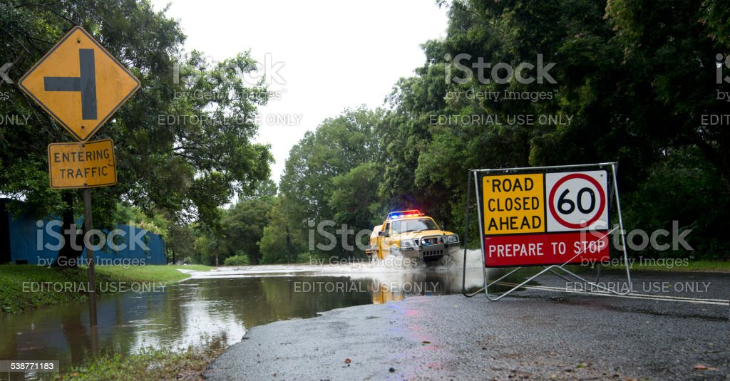 Queensland Flooded Road Cyclone Marcia stock photo