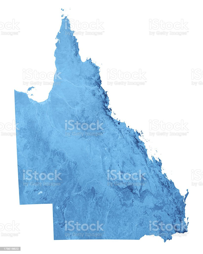 Queensland Topographic Map Isolated stock photo
