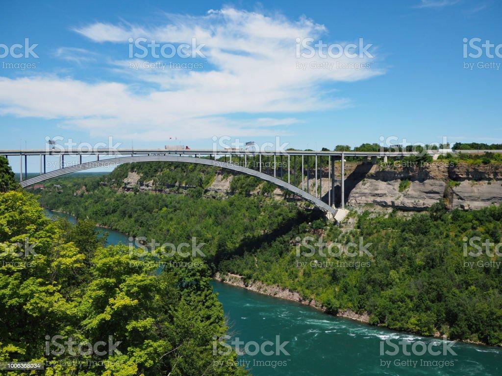 Queenston-Lewiston Bridge across the Niagara River Gorge stock photo