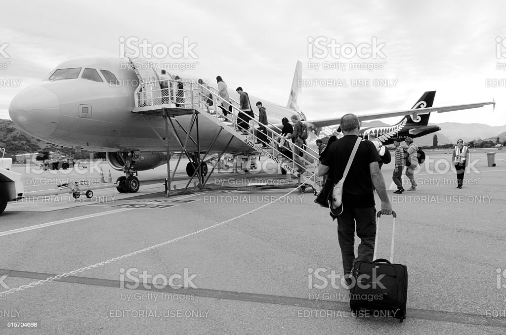 Queenstown Airport - New Zealand stock photo