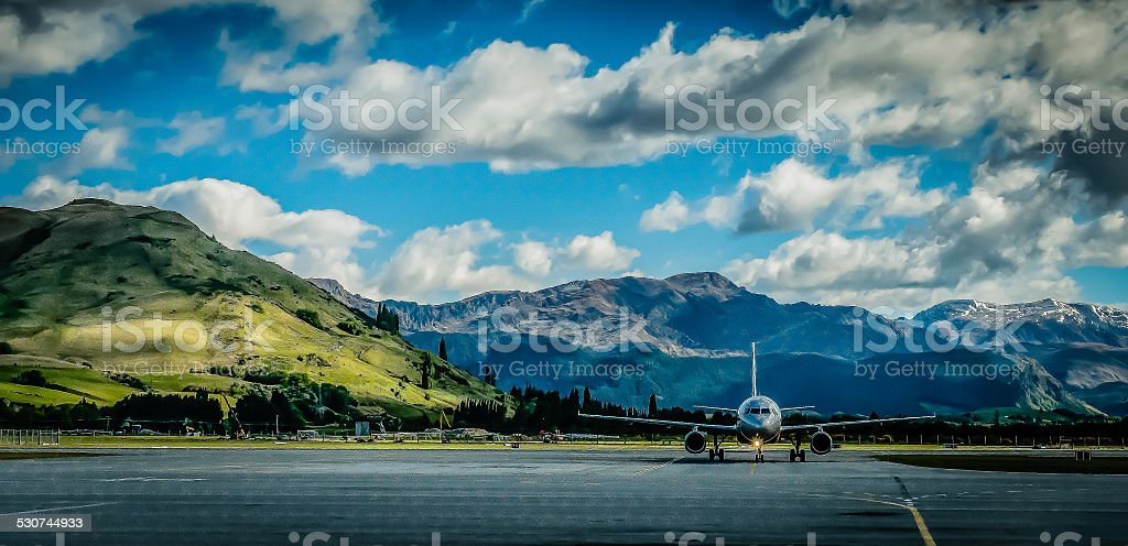Queenstown Airport Panorama stock photo