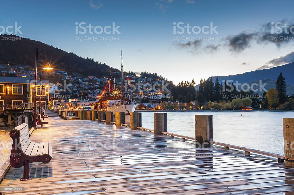 Queenstown and lake Wakatipu in the morning stock photo