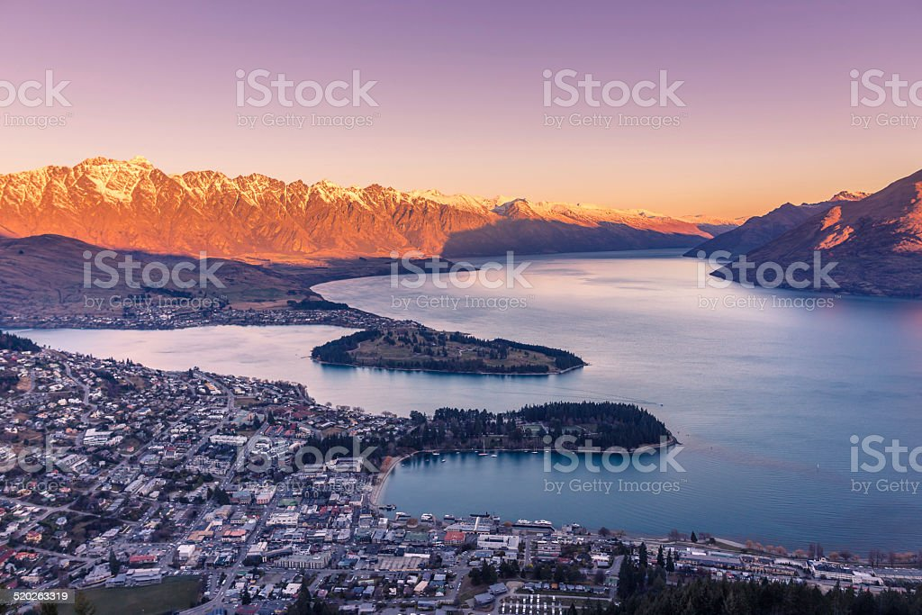Queenstown and Lake Wakatipu stock photo