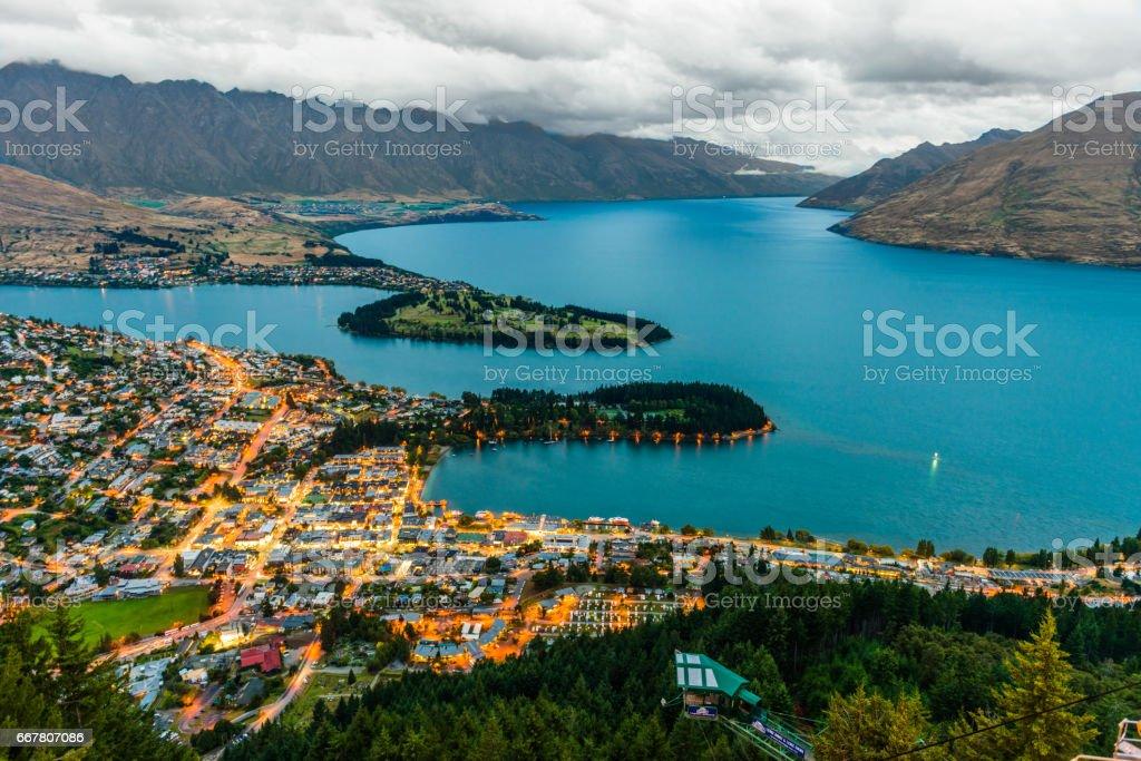 Queenstown and Lake Wakatipu stock photo