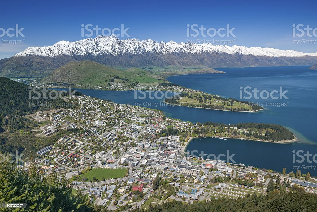 Queenstown and The Remarkables Panorama, New Zealand stock photo