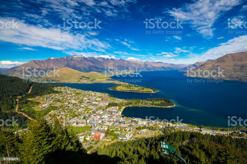 Queenstown City View stock photo
