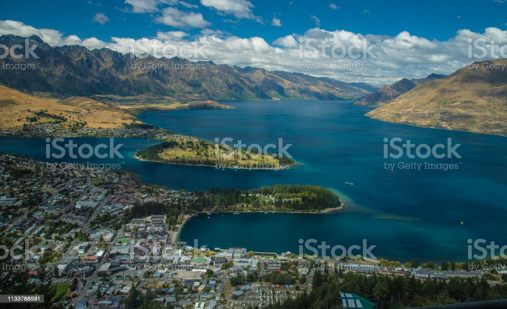Queenstown, New Zealand and Lake Wakatipu stock photo