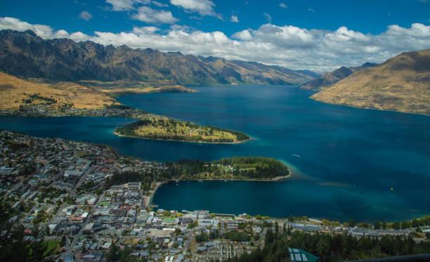 Queenstown, New Zealand and Lake Wakatipu stock photo