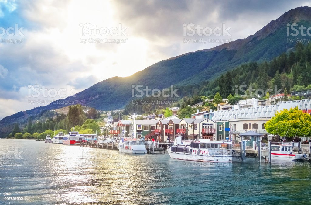 Queenstown South Island New Zealand during sunset stock photo