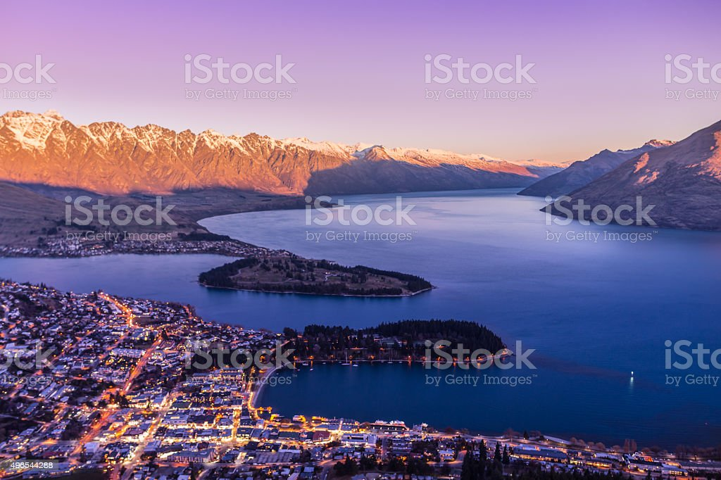 Queenstown Sunset royalty-free stock photo