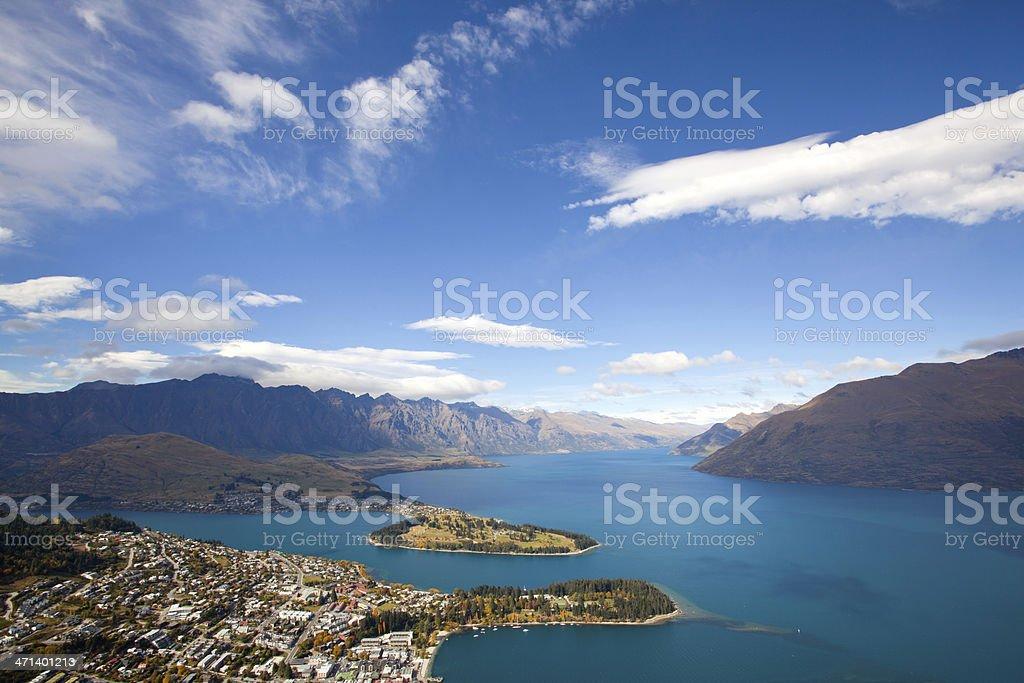 Queenstown with lake Wakatipu stock photo