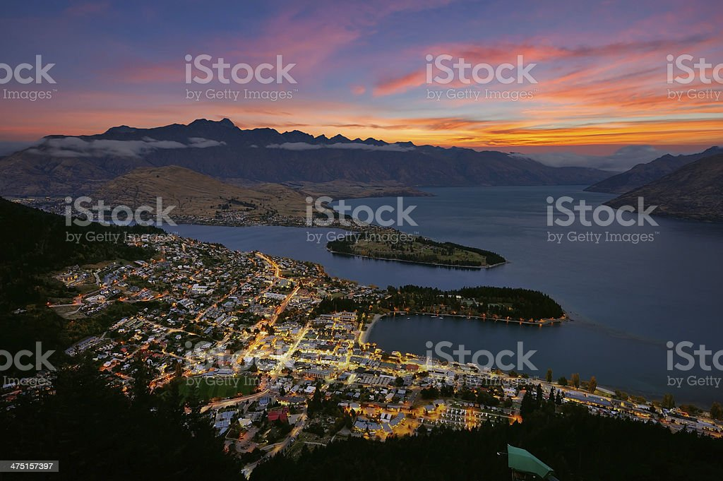 Quennstown city in New Zealand stock photo