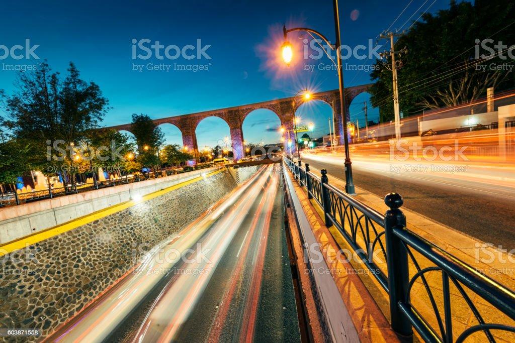 Queretaro Aqueduct Mexico stock photo